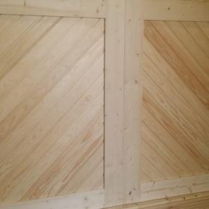 Diagonal Cladding with Windows Timber wooden Garage Doors