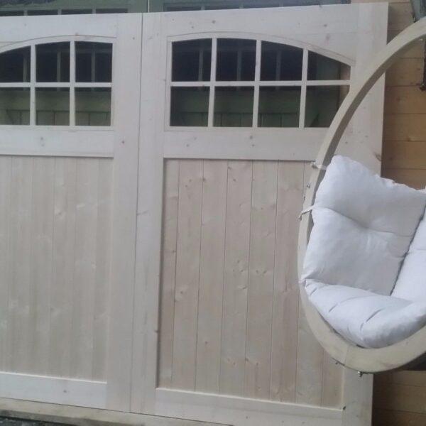 Arch glass wooden timber garage doors