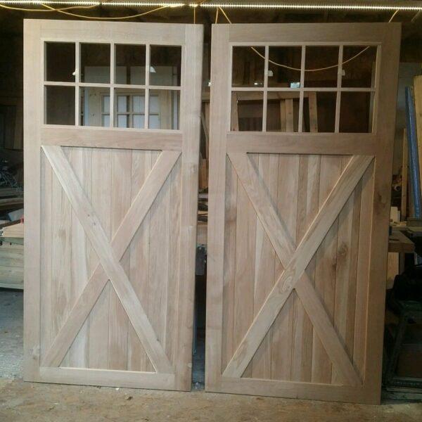 Solid Oak Cross Brace Garage Doors with Window