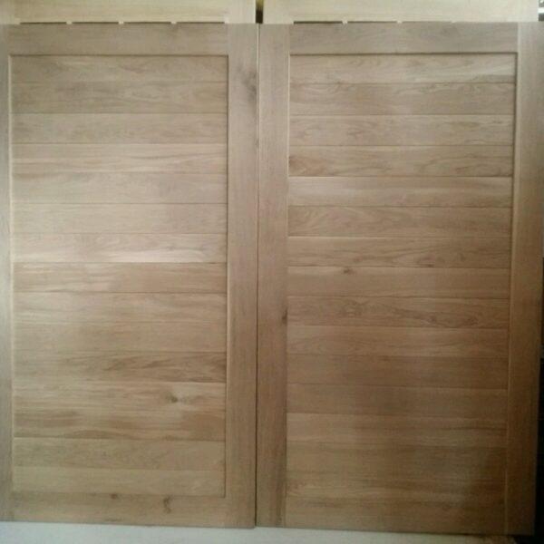 Straight Horizontal Panels in Frame Solid Oak Garage Doors