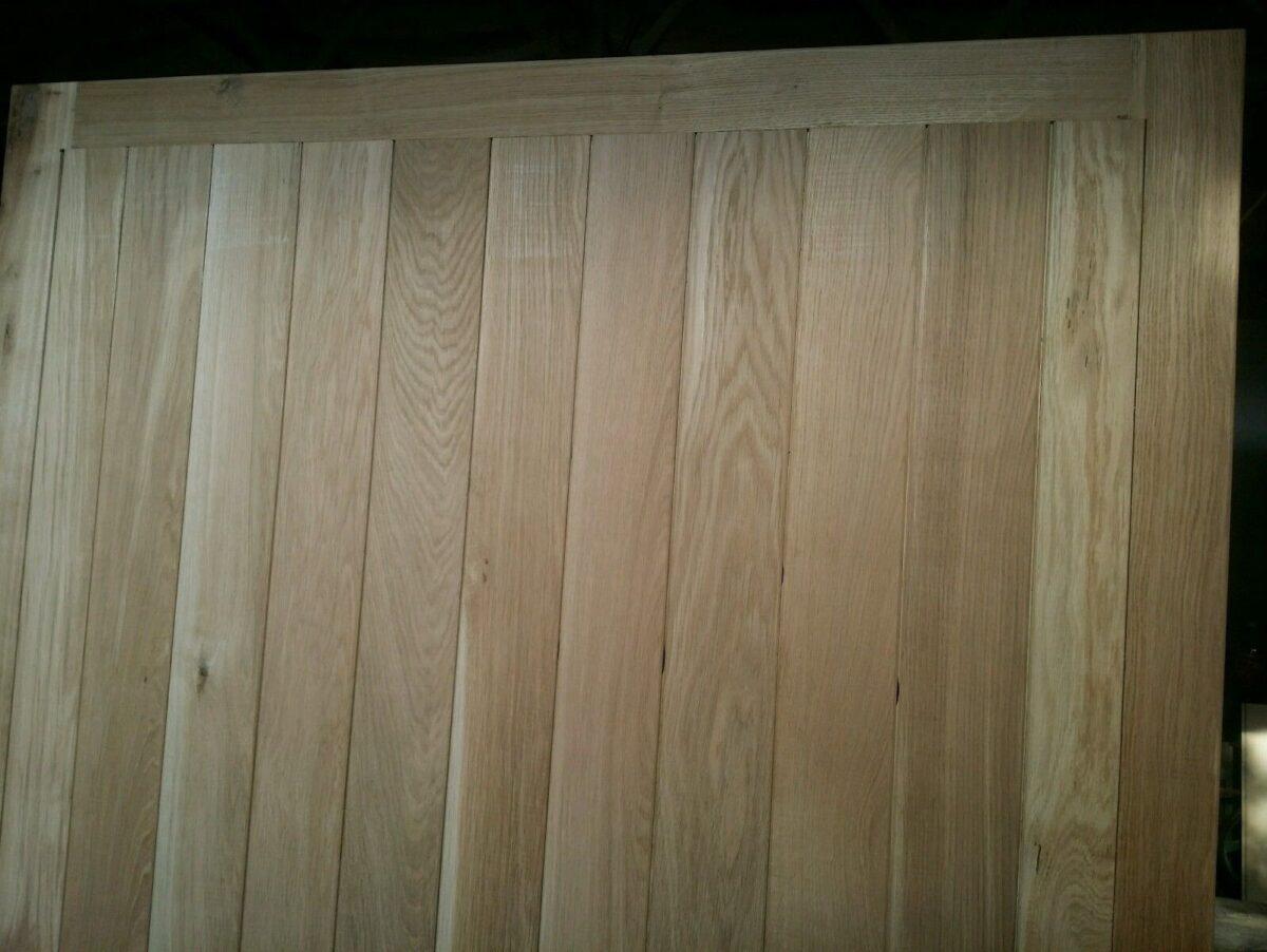 Straight Vertical Panels in Frame Solid Oak Garage Doors