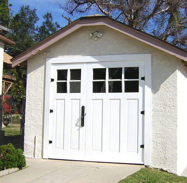 Traditional White Split 70/30 Glass Pane Timber Garage Doors