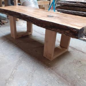 Ash wood live edge coffee table top 4 inch
